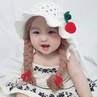 Caps & Hats MXLE Cute Idyllic Handmade Knitted Baby Girl Twist Braid Hat Infant Wigs Brades Kid
