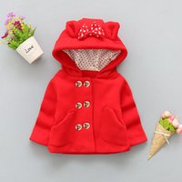 Autumn baby girls thick woolen coats children's hooded shirt bow pocket double-breasted outerwear kids warm jackets clothes 201126