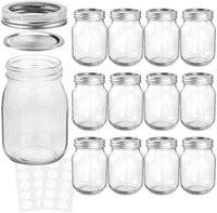 Mason Jars 16 أوقية مع أغطية وشرطا منتظمة، مثالية للمربى، العسل، حفل زفاف، دش، أغذية الأطفال، زجاجات تخزين المغناطيس ديي