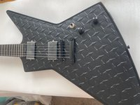¡Promoción! MX250 James Hetfield Guitar Matte Black Diamond Plate Explorer Guitarras eléctricas Ninja Estrellas Inlay, China Emg Pickups, Hacha Super Rare