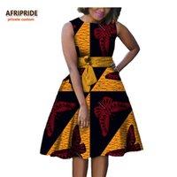 Mulheres Outono Vestido Africano Afripride Privado Personalizado Sem Mangas Joelho Joelho-Comprimento A-Linha Plissada Casual Algodão Puro A722584 Vestidos
