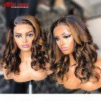 Perruques de cheveux humains de couleur brun perruque brun 13x6 ombre onde lâche dentelle de lacet avant perruque de lacet de la dentelle de soie