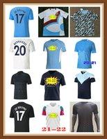 2021 2022 Manchester Tercero fútbol Jersey 20 21 22 G. Jesús Ciudad Negro Sterling Ferran de Bruyne Kun Agüero Camisetas de fútbol Hombre Azul Uniforme Hombres Kit S