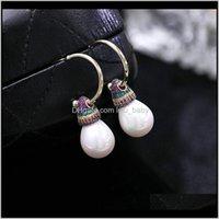Testate romantica Zirconia Zirconia Pearl Pierce Orecchini Brand Design Fashion Bead Europa e America Party di nozze Wxbyl Pin Spille J37TL