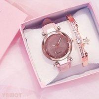 Tasarımcı Lüks Marka Saatler Kadınlar Romantik Yıldızlı Gökyüzü Bilek Bilezik Deri Rhinestone Bayanlar Saat Basit Elbise Gfit Montre Femme