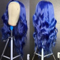 Synthetic Wigs 26 Inch Free Part Body Wave Navy Blue Pre-Plucked Lace Front For Fashion Women Hair Heat Resistant Party Cosplay