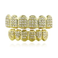 Tooth 18K Gold Plated Diamond Glaze Grillz Teeth Dental Grills Hip Hop Bling Body Jewelry for Men Fashion Silver Gold Will and Sandy