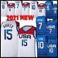 Team America Jersey Basketball Jersey Tokyo Olympiques d'été Damian 6 Lillard Kevin 7 Durant Jayson 10 Tatum Devin 15 Booker Jerseys Blue Dark Blanc 2021 USA