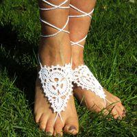 المجوهرات، اليد الأبيض الأزهار الكروشيه الصنادل حافي القدمين، الزفاف القدم، الكروشيه ساندز، مثير، اليوغا، خلخال، أحذية عارية
