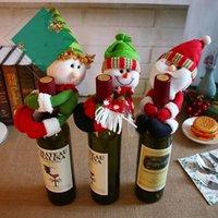 عيد الميلاد الأحمر النبيذ زجاجات غطاء أكياس زجاجة حامل حزب الديكور عناق سانتا كلوزان ثلج عشاء الجدول الديكور المنزل عيد الجملة