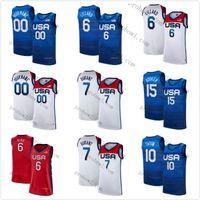 Team America 2021 USA Tokyo Summer OlympicsDamian 6 Lillard Kevin 7 Durant Jayson 10 Tatum Devin 15 Booker Lavande Bleu Blanche Blanc Blanc Basketball Basketball