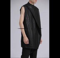 Vêtements pour homme Coiffeur Steyliste Marcher Montrer Avant Pliage Imitation En Cuir sans manches PU Vest plus Taille Costumes Costumes Costumes Vestes