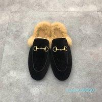 2021 Femmes Hommes Demi-pantoufles Slippers Diapositives Classiques Métal Boucle Broderie Styliste Chaussures Sandales Sandales Mocassins Automne Hiver Chaud Santon Wi