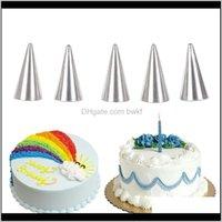 Bakeware Kitchen, Dining Bar Home Garden5Pcs Set Stainless Steel Icing Piping Nozzles Set Metal Tips Cupcake Fondant Cake Decorating Diy Reus