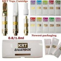최신 KRT vape 카트리지 0.8 ml 1ml 세라믹 카트리지 분무기 510 나사 유리 두꺼운 오일 DAB 펜 왁스 기화기 카트 전자 담배 빈
