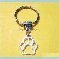 Cat / Dog Claw Keychain Dog PAW Stampa Stampa portachiavi per porta borsa Charm Car Keys Chains Portachiavi Anello Appeso Artigianato o decorazioni 725 9S91V PPAIT