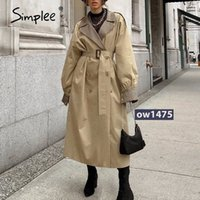 Simplee Causal light tan autumn women trench coat Split joint elegant long sleeve coat Plaid long coat with belt windbreaker 50qs#