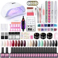 Nail Art Kits COSCELIA Gel Polish Set With UV LED Lamp Dryer Power Electric Drill Full Manicure Kit For Tools