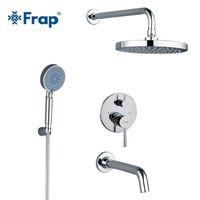 FRAP Banheiro Torneira Redonda Abs Head Bath Misturadores Torneira Conjunto Com Handshower Mount Mount System Braço T200612