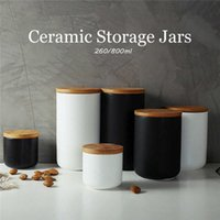 1pc 260ML 800ML Ceramic Storage Jars Wooden Lids Coffee Sugar Canisters Kitchen Supplies Container Tea Pot Grain Organizer