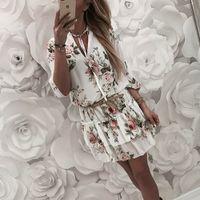 dress Vintage Women's Wrap Summer V-neck Boho Floral Print Elegant Ladies Holiday Beach Mini Sun Plus Size