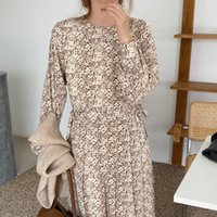 Casual Dresses Autumn Spring Women Long Sleeve Elegant Print Dress Female Bandage Midi Fashion Clothes Vestidos