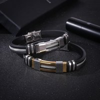 Stainless Steel buckle Bracelet bangle cuff Silicone bracelet wristband for women men fashion jewelry dff1640