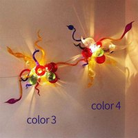 Modern Hand Made Lamp Multicolor Wall Arts Lamps with LED Bulbs Lighting for Home Decor Custom Colored Glass Sconce Art Decoration 12X16 Inches