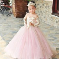 Girl's Dresses Pink Ball Gown Flower Girls Long Sleeve Pageant Lace Appliques Kids Birthday Party Costume