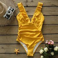 Sporike Heart Attack Falbala Traje de baño de una sola pieza Mujer Ruffle V-cuello Monokini New Girls Playa Baño Traje de baño S-2XL 210317