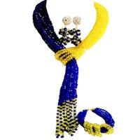 Pendientes Collar Característica Royal Azul Amarillo Mujeres Cristal Conjuntos con cuentas para compromiso 10C-WJ-24
