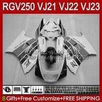 Body Kit voor Suzuki VJ21 White Glanzende RGV250 RGVT RGV 250CC 250 cc carrosserie VJ-21 Panel 21HC.154 RGV-250CC RGV-250 RGVT-250 VJ 21 1988 1989 RGV250C SAPC 88 89 OEM FACKING