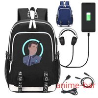 Plecak Gra Detroit Zostań Ludzką Laptop Torby Szkolne Bookbag USB Ładunek Interfejs Ramię Torba Torba Pracuj Wypoczynek