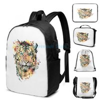 Funny Graphic Print Tiger III USB Charge Backpack Men School Bags Women Bag Travel Laptop