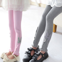 Kids Girls Tights Trousers 15 Colors Cartoon Lace Elastic Leggings Big Girls Bows Ties Skinny Pants Knitted Pencil Pants EUR 060609