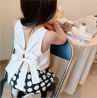 2021 summer baby girls clothing sets fashion kids bow backless vest tops + polka dots pants 2pcs suits children casual outfits S1111