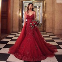 Burgundy Sweetheart Neck Lace Appliqued Mermaid Evening Dresses with Overskirt Beaded Sweep Train Corset Back Prom Gowns