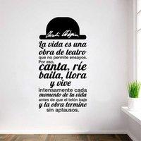 Spanish Quote La vida es una obra de teatro Vinyl Wall Sticker Decals Art for Living Room Home Decor House Decoration T200827
