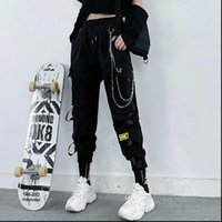 Harajuku Black Cargo Chain Womens Pants Wide Leg Hiphop Streetwear Loose Baggy Oversize Korean Style Trousers