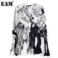 [EAM] Женщины узор напечатанные большие размеры блузка V-HOLOWLONG рукав свободная подходит рубашка мода прилив весна осень 1w32609