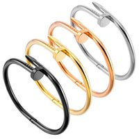 bracelets d'ongles amour bracelet vis Visdure de tournevis manchette hommes Bangle d'or Bangle de luxe bijoux femmes en acier inoxydable doré non allergique sac à bulles sans fade