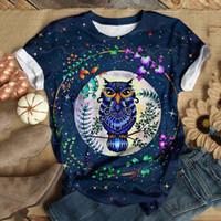 티셔츠 캐주얼 파티 느슨한 여자 탑 라운드 넥 짧은 소매 올빼미 화환 인쇄 탑 블루스 일일 t 셔츠 camiseta mujer