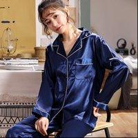 autumn Summer pajama set Fashion Womens Sleepwears Pyjamas Faux Silk sexy Pajamas Suit Trousers Night Clothes sleepwear F