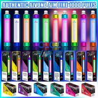 Auténtico AIVONO AIM BURACE VAPLE VAPLE PEN E Dispositivo de cigarrillo con la luz RGB 650mAh batería 4ml cartucho precollado POD 1000 Puffs Brillante Vapes Kit vs Big Bar