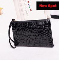 Wallets Women Clutch Bag Simple Black Pu Leather Crocodile Pattern Bags Enveloped Shaped Messenger Big Sale Pochette 2021