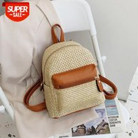 Bags 2021 Korean version of the shoulder bag women's retro Mori hit color large-capacity backpack woven book #qf3u