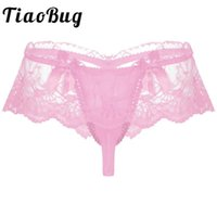 Mens Lingerie Sissy Panties See-through Lace Bowknot Sexy Briefs Underwear Low Waist Mesh Open Bulge Pouch Thongs Underpants Women's