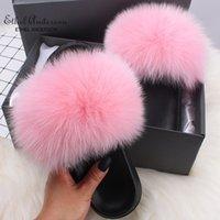 Ethel Anderson Women Slippers Slides Summer Plus Real Fur Flip Flops Chic Fur Flat Sandals Shoes Top Selling Q0508