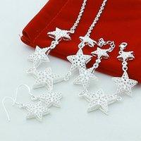 925 Sterling Silber 18-Zoll-Fünf-spitz-Sternkette Halskette Armband Ohrring Set für Frauen Hochzeit Verlobungsfeier Juwel