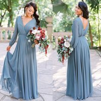 Country Style 2019 New Arrival Dusty Sky Blue Chiffon Boho Bridesmaid Dresses V Neck Long Sleeves Party Dress Cheap Wedding Guest Dresses